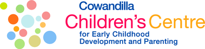 Cowandilla Children's Centre text with different sized green, blue, pink and orange circles to the left