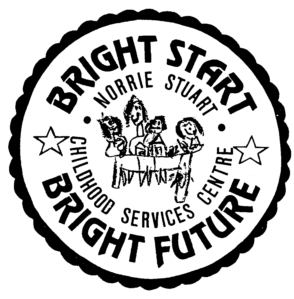Norrie Stuart Childhood Services Centre written in a circle with Bright Start Bright Future written around the outside