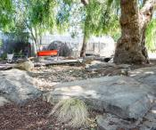 outdoor play area with large shady trees, large flat moss rock boulders and water trough.