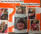 A poster of 'our pet picnic at Port Pirie West Children's Centre'. There are six photos of children with toy animals.